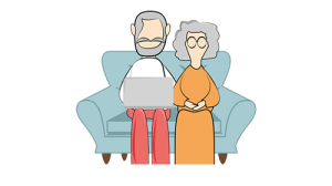 D-Care Respect and Respite old couple sitting on sofa